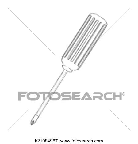 clip art of sketch tools or home improvement screwdriver k21084967