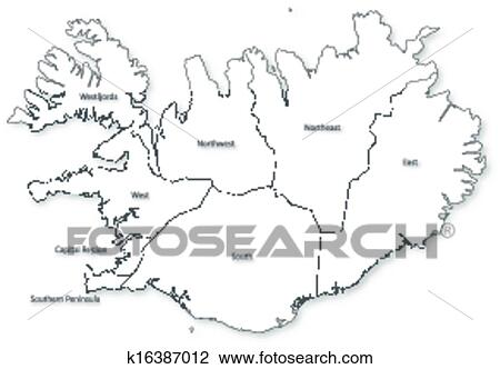 Vector map of Iceland with regions. Clipart