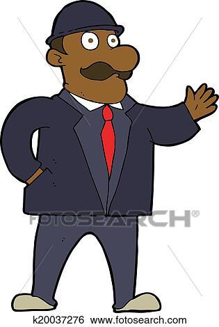 Clip Art Of Cartoon Sensible Business Man In Bowler Hat K20037276