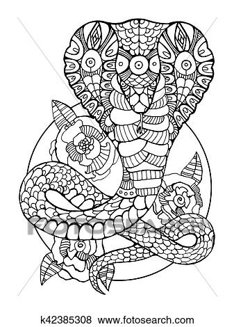 Clip Art of Cobra snake coloring book for adults vector k42385308 ...