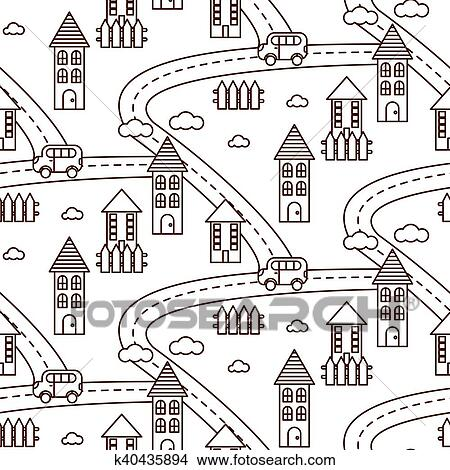 Contour Village Seamless Pattern Clipart