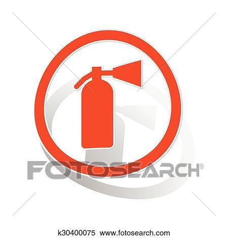 Clipart Of Fire Extinguisher Sign Sticker Orange K30400075 Search