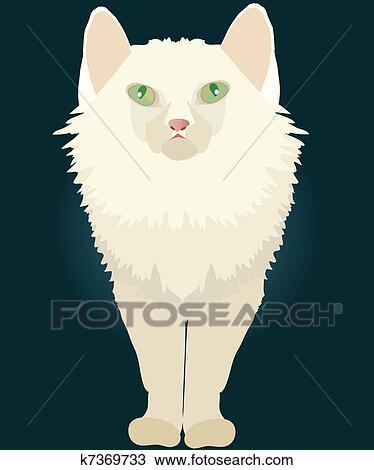 Gatto Bianco Con Occhi Verdi Clipart K7369733 Fotosearch