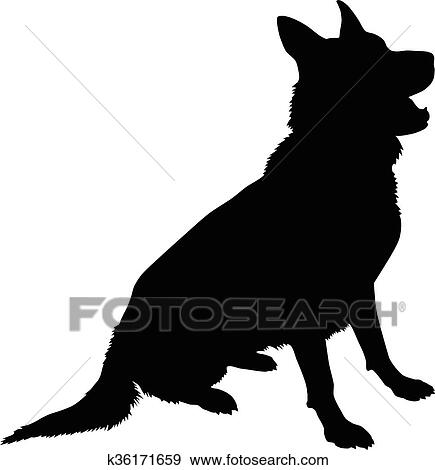 clip art of german shepherd silhouette k36171659 search clipart rh fotosearch com german shepherd clipart graphics german shepherd clipart black white