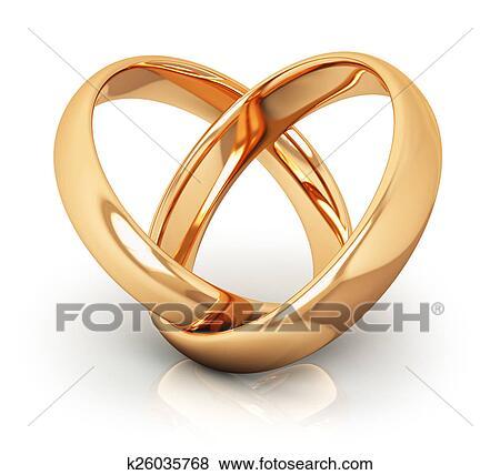 Stock Illustration Goldene Hochzeit Ringe K26035768 Suche Clip