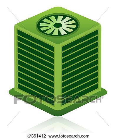 Clip Art - grün, klimatechnik, einheit, symbol k7361412 - Suche ...
