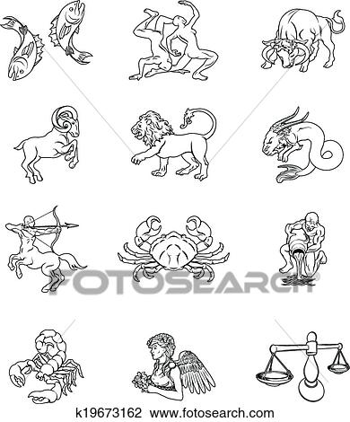clipart zodiaque horoscope astrologie signes k19673162 recherchez des clip arts des. Black Bedroom Furniture Sets. Home Design Ideas
