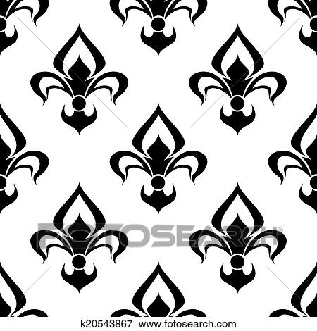 clip art of modern fleur de lys background seamless pattern