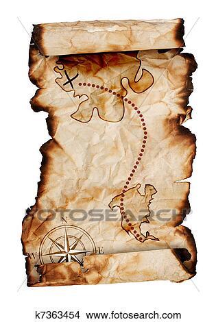 Drawings Of Old Treasure Map K7363454