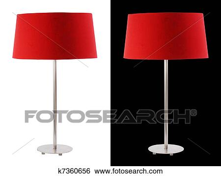 Contemporary Metallic And Red Fabric Table Lamp Isolated On White And Black  Backgrounds. Included Clipping Path, So You Can Easily Cut It Out And Place  Over ...