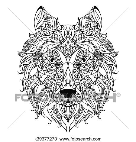 Clipart T 234 Te Loup Zentangle Stylis 233 Coloration Page