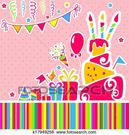 Clip Art Of Vector Happy Birthday Background Greeting Card