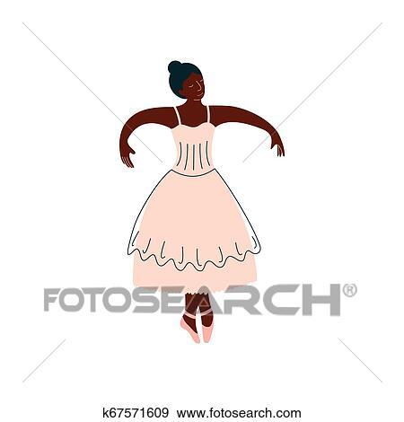 African American Ballerina In White Dress Dancing Classical Dance Vector Illustration Clip Art K67571609 Fotosearch