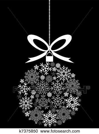 Black And White Hanging Christmas Ornament Made Of