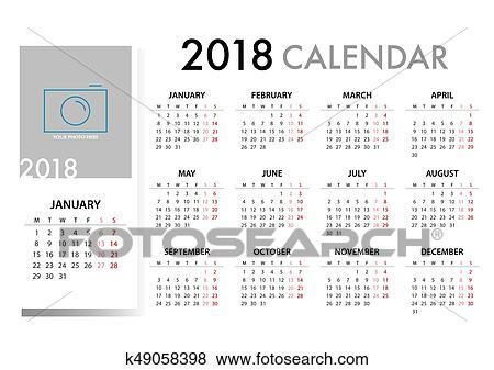 clip art of calendar for 2018 template design week starts monday