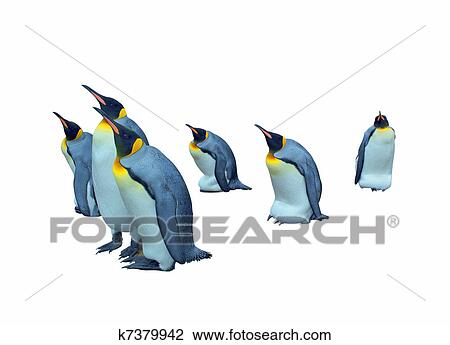Stock Photo Of Colony Emperor Penguins Cutout K7379942