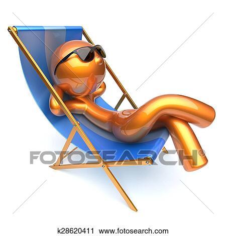 Sonnenstuhl clipart  Clipart - mann-entspannen, karikatur, zeichen, kühlen, sandstrand ...