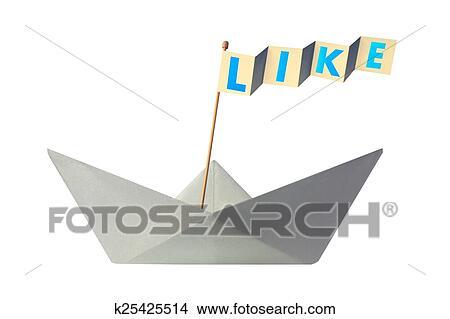 Origami Bateau Papier A Drapeau Ecriture Aimer Image K25425514 Fotosearch