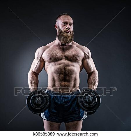 Stock Fotograf - starke, bodybuilder, mit, sechs packen, perfekt ...