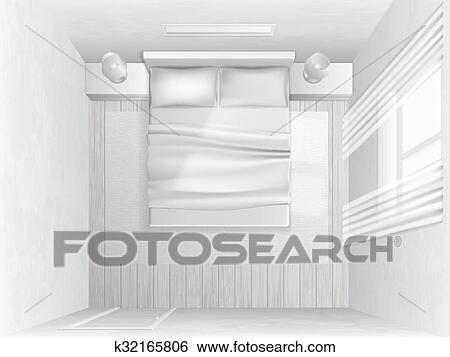 Clip Art Of Top View Bedroom K32165806 Search Clipart