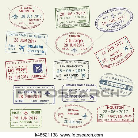 Clip Art Of Vector Icons Travel City Passport Stamp USA Canada