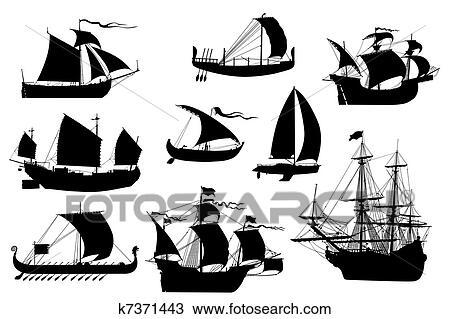 Voiliers collection dessin k7371443 fotosearch - Dessins de voiliers ...