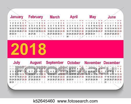 2018 Pocket Calendar. Template Calendar Grid. Horizontal