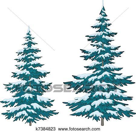 Choinki Pod śnieg Klipart K7384823