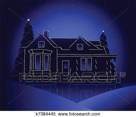 House With Christmas Lights Clipart.Christmas House Clipart