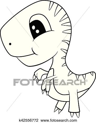 Clipart Of Cute Black And White Cartoon Of Baby T Rex Dinosaur