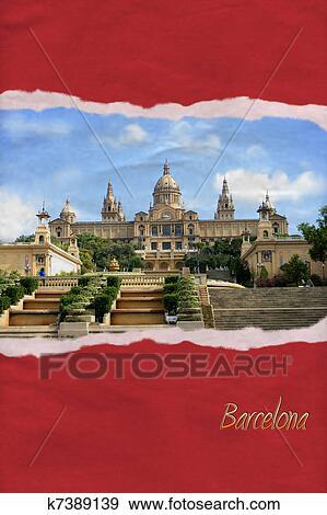 Carte Barcelone Place Despagne.Dechire Papier Carte Postale De Barcelone Espagne Banque D