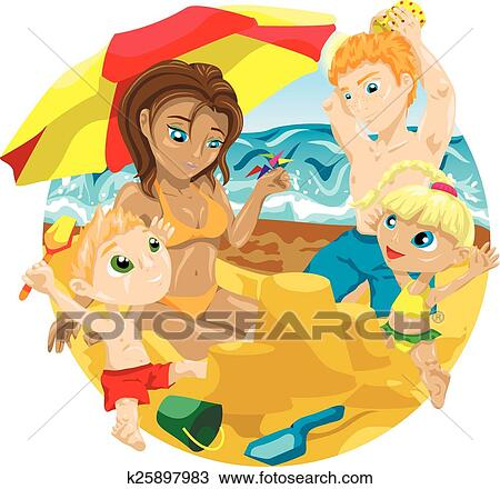 Family On The Beach Clipart K25897983 Fotosearch