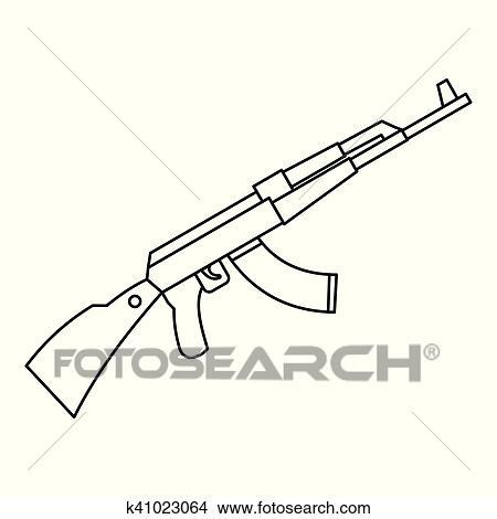 clipart of kalashnikov ak 47 machine icon outline style k41023064 rh fotosearch com AK-47 Cartoon AK-47 Cartoon