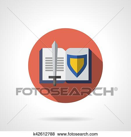 Livre Sur Chevalerie Plat Rond Vecteur Icone Clipart