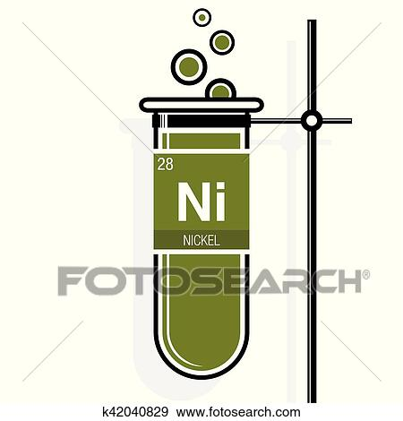 Nickel symbol on label in a green test tube with holder  Element number 28  of the Periodic Table of the Elements - Chemistry Clip Art