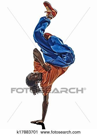 4bf81fe00 One hip hop acrobatic break dancer breakdancing young man handstand  silhouette white background. k17883701 | Fotosearch | Royalty Free
