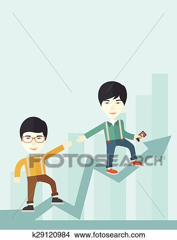 Two chinese guy walking in arrow going up. Clipart ...