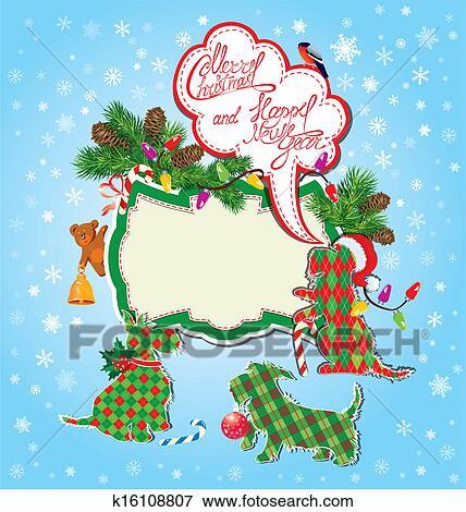 Stock Illustration - weihnachten neujahr feiertage, karte, mit ...