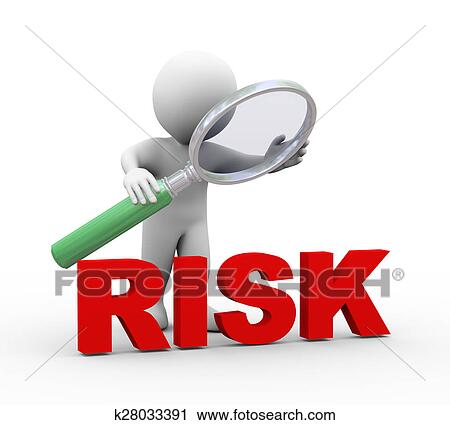 clipart of 3d man looking at word risk with magnifier k28033391 rh fotosearch com risk clipart free risk clipart png