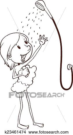 A Plain Drawing Of Young Girl Taking Shower On White Background
