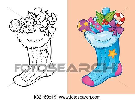 Clip Art Ausmalbilder Von Weihnachten Socke Mit Süßigkeiten