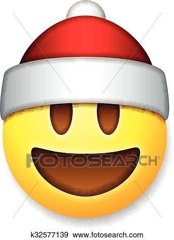 Emoticon Babbo Natale.Babbo Natale Emoticon Ridere Vacanza Emoji Clip Art K32577139 Fotosearch