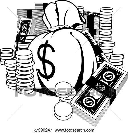 Clip Art Of Black And White Illustration Of Cash K7390247