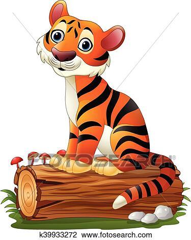 Cartone animato tiger seduta su albero ceppo clipart