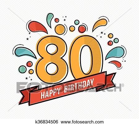 clip art of colorful happy birthday number 80 flat line design