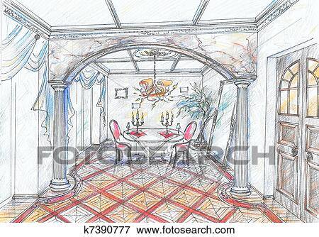 banque d 39 illustrations croquis de int rieur de salle. Black Bedroom Furniture Sets. Home Design Ideas