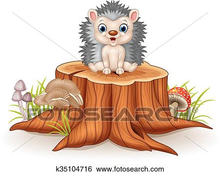 Clip Art Of Cute Baby Hedgehog Sitting K35104716 Search Clipart