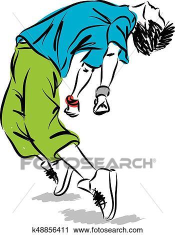 clipart of hip hop dancer vector illustration k48856411 search rh fotosearch com hip hop dancer clipart hip hop clipart free