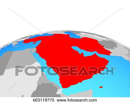 Map of Western Asia on globe Stock Illustration | k63119775 ...