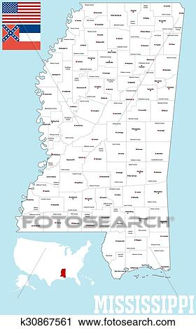 Clipart - mapa de condado de mississippi k30867561 - Buscar Clip Art ...
